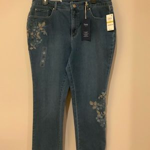 Charter Club Straight leg embroidered jeans 14